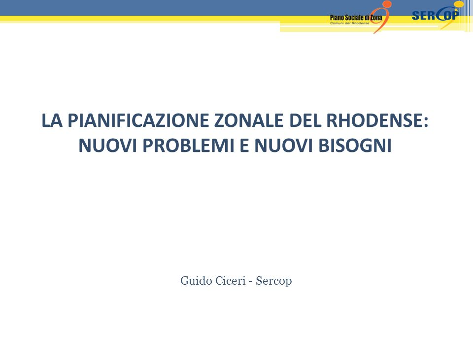 LA PIANIFICAZIONE ZONALE DEL RHODENSE: NUOVI PROBLEMI E NUOVI BISOGNI