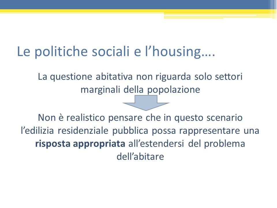Le politiche sociali e l'housing….