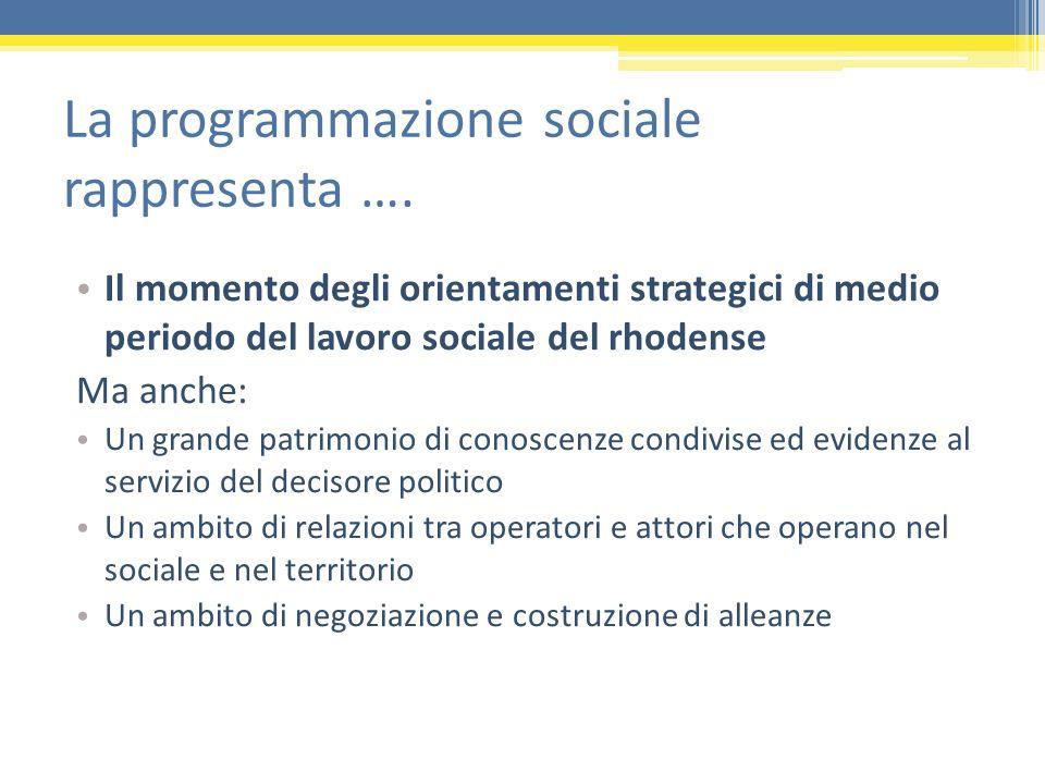 La programmazione sociale rappresenta ….