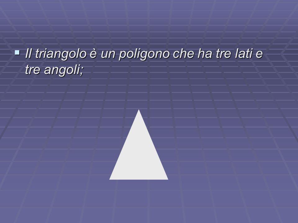 Il triangolo è un poligono che ha tre lati e tre angoli;