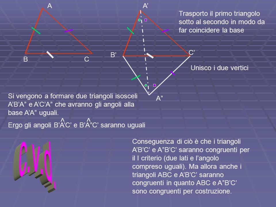 A A' Trasporto il primo triangolo sotto al secondo in modo da far coincidere la base. C' B' B. C.