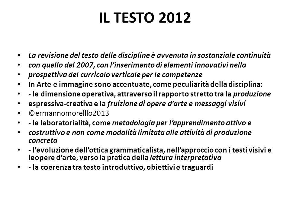 IL TESTO 2012 La revisione del testo delle discipline è avvenuta in sostanziale continuità.