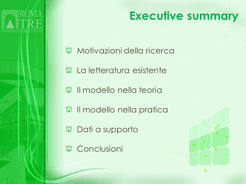 Executive summary Motivazioni della ricerca La letteratura esistente