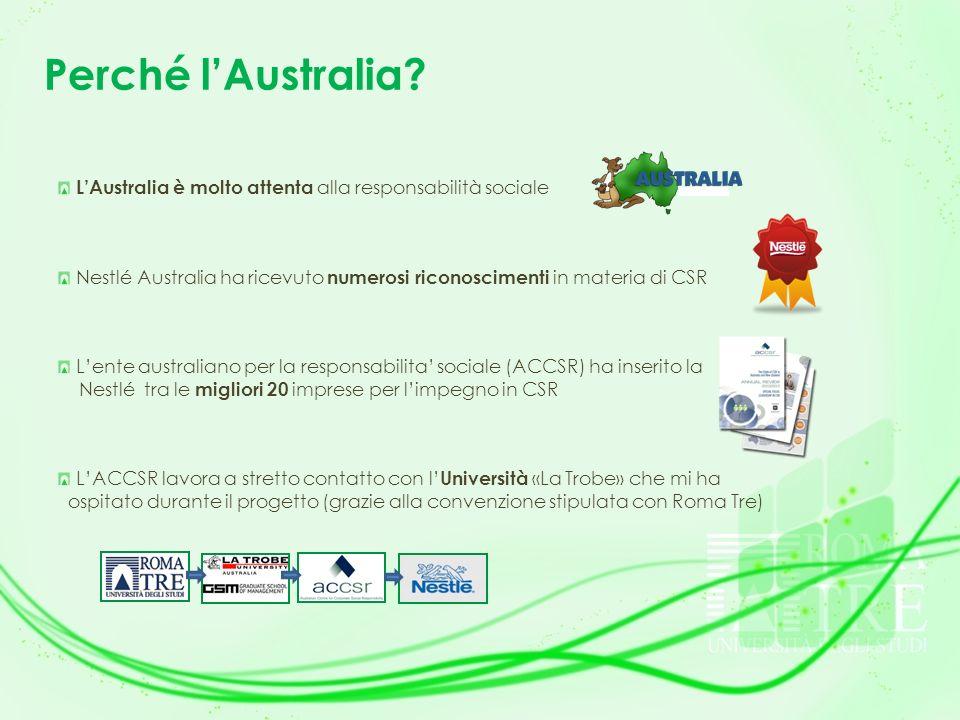 Perché l'Australia L'Australia è molto attenta alla responsabilità sociale. Nestlé Australia ha ricevuto numerosi riconoscimenti in materia di CSR.