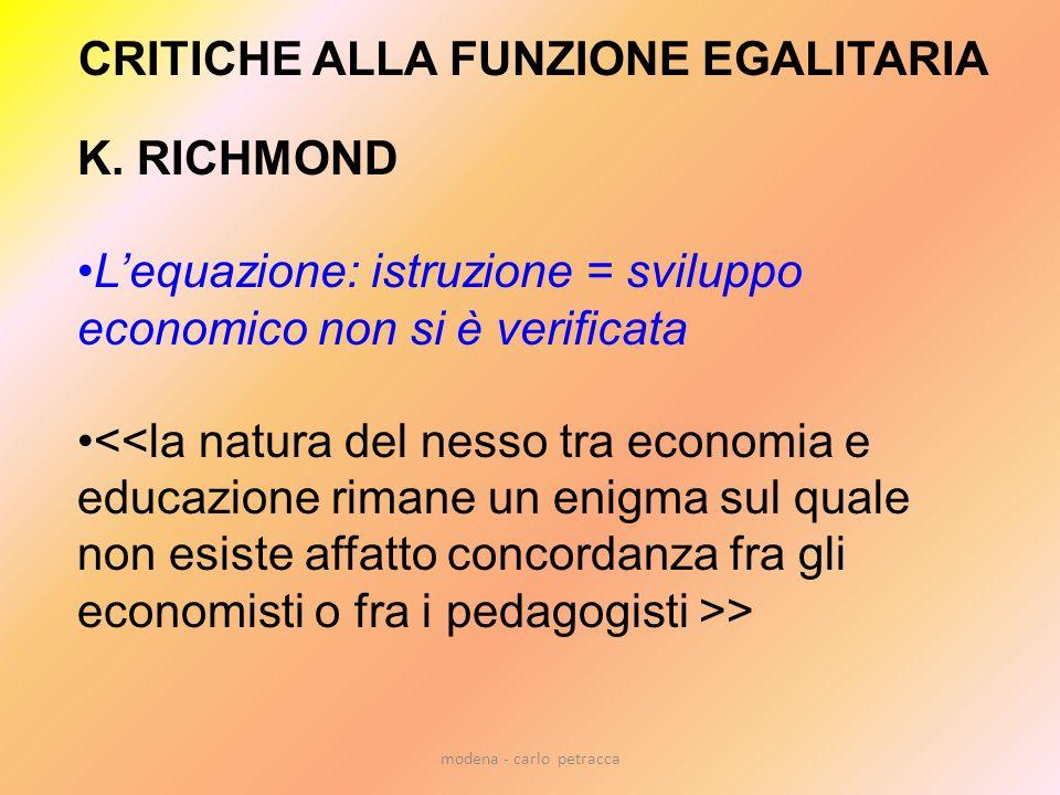 CRITICHE ALLA FUNZIONE EGALITARIA K. RICHMOND