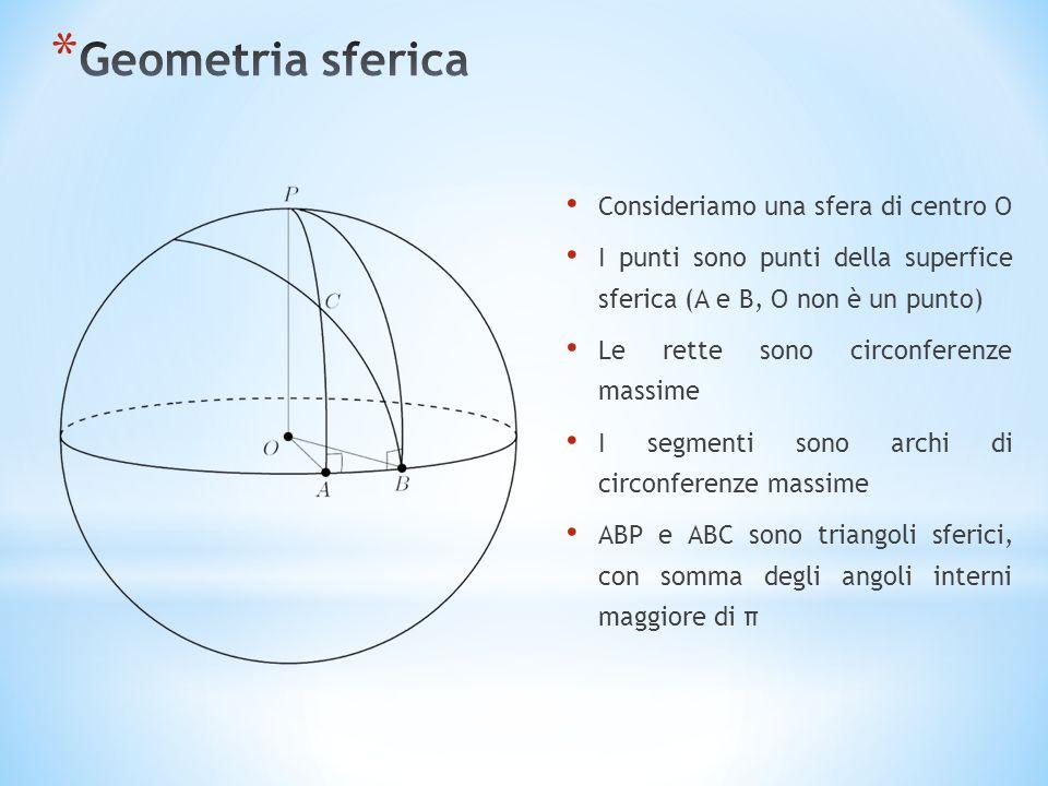 Geometria sferica Consideriamo una sfera di centro O