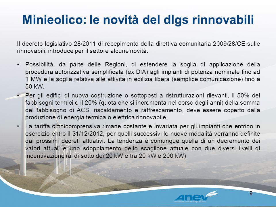 Minieolico: le novità del dlgs rinnovabili