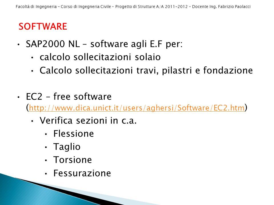 SOFTWARE SAP2000 NL – software agli E.F per: calcolo sollecitazioni solaio. Calcolo sollecitazioni travi, pilastri e fondazione.