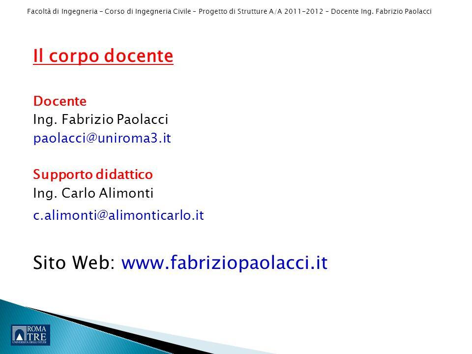 Il corpo docente Docente. Ing. Fabrizio Paolacci. paolacci@uniroma3.it. Supporto didattico. Ing. Carlo Alimonti.