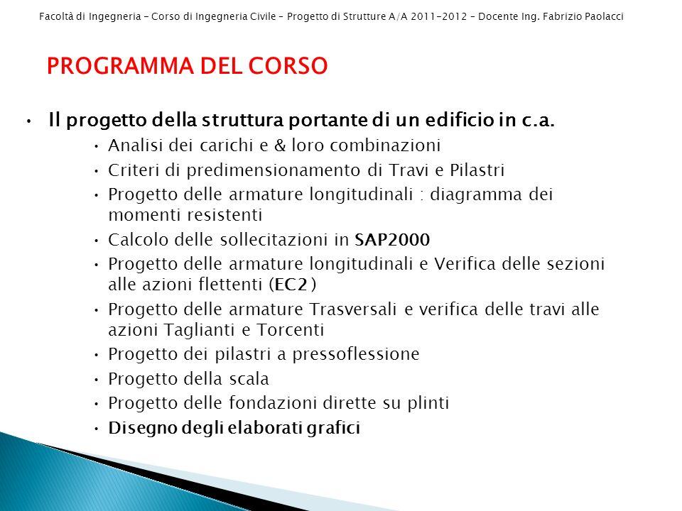 PROGRAMMA DEL CORSO Il progetto della struttura portante di un edificio in c.a. Analisi dei carichi e & loro combinazioni.