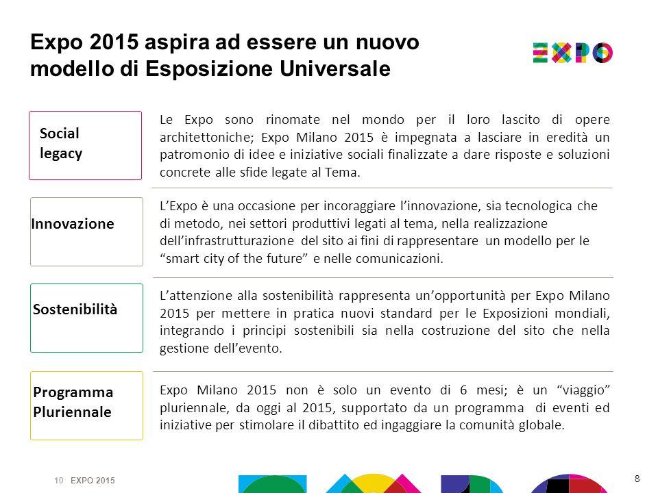 Expo 2015 aspira ad essere un nuovo modello di Esposizione Universale