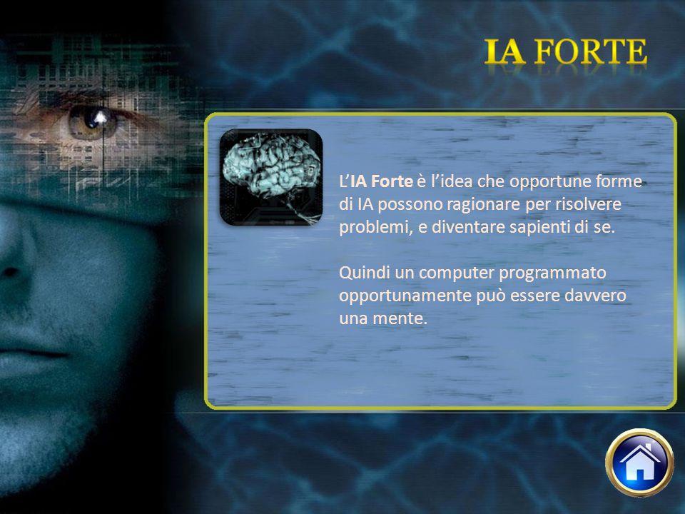 Ia forte L'IA Forte è l'idea che opportune forme di IA possono ragionare per risolvere problemi, e diventare sapienti di se.
