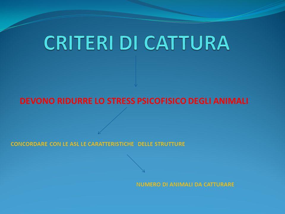 CRITERI DI CATTURA DEVONO RIDURRE LO STRESS PSICOFISICO DEGLI ANIMALI