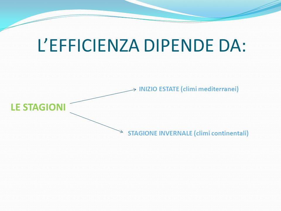 L'EFFICIENZA DIPENDE DA: