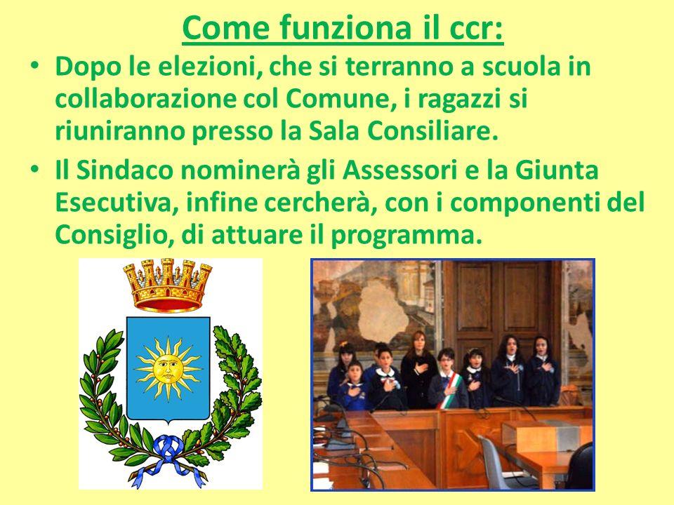 Come funziona il ccr: Dopo le elezioni, che si terranno a scuola in collaborazione col Comune, i ragazzi si riuniranno presso la Sala Consiliare.