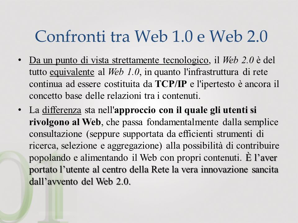 Confronti tra Web 1.0 e Web 2.0