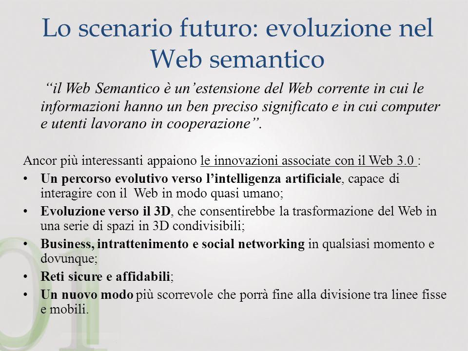 Lo scenario futuro: evoluzione nel Web semantico