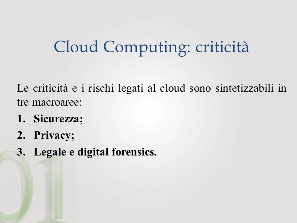 Cloud Computing: criticità