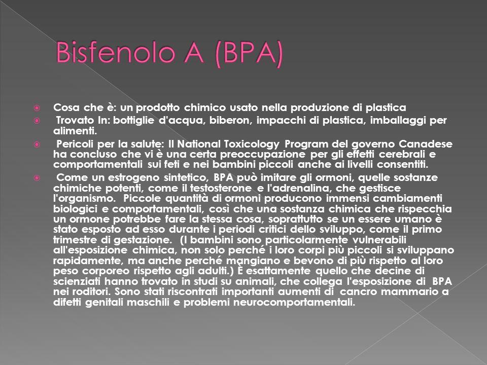 Bisfenolo A (BPA) Cosa che è: un prodotto chimico usato nella produzione di plastica.
