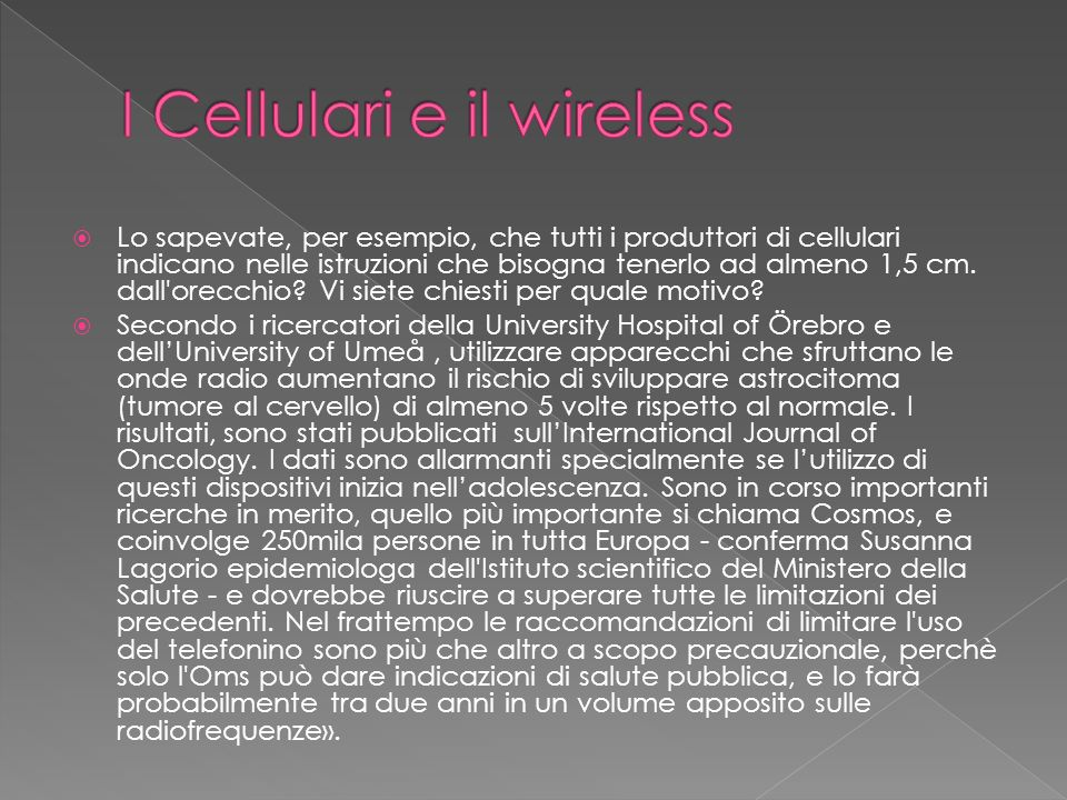 I Cellulari e il wireless