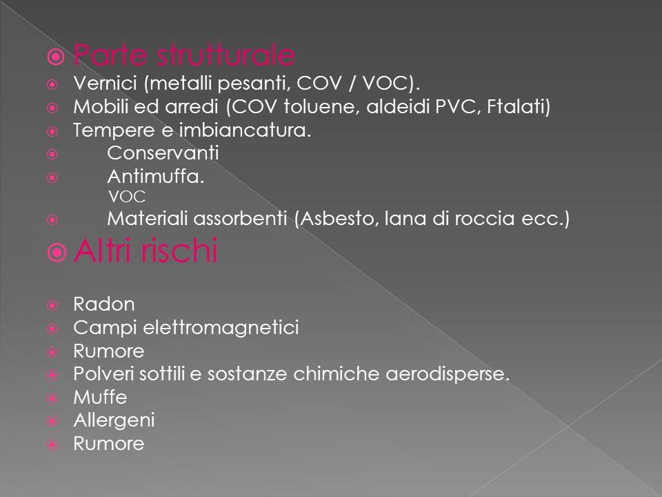 Altri rischi Parte strutturale Vernici (metalli pesanti, COV / VOC).
