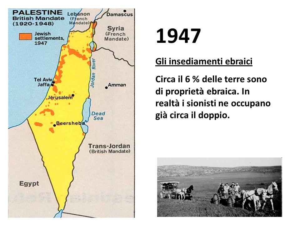 1947 Gli insediamenti sionisti