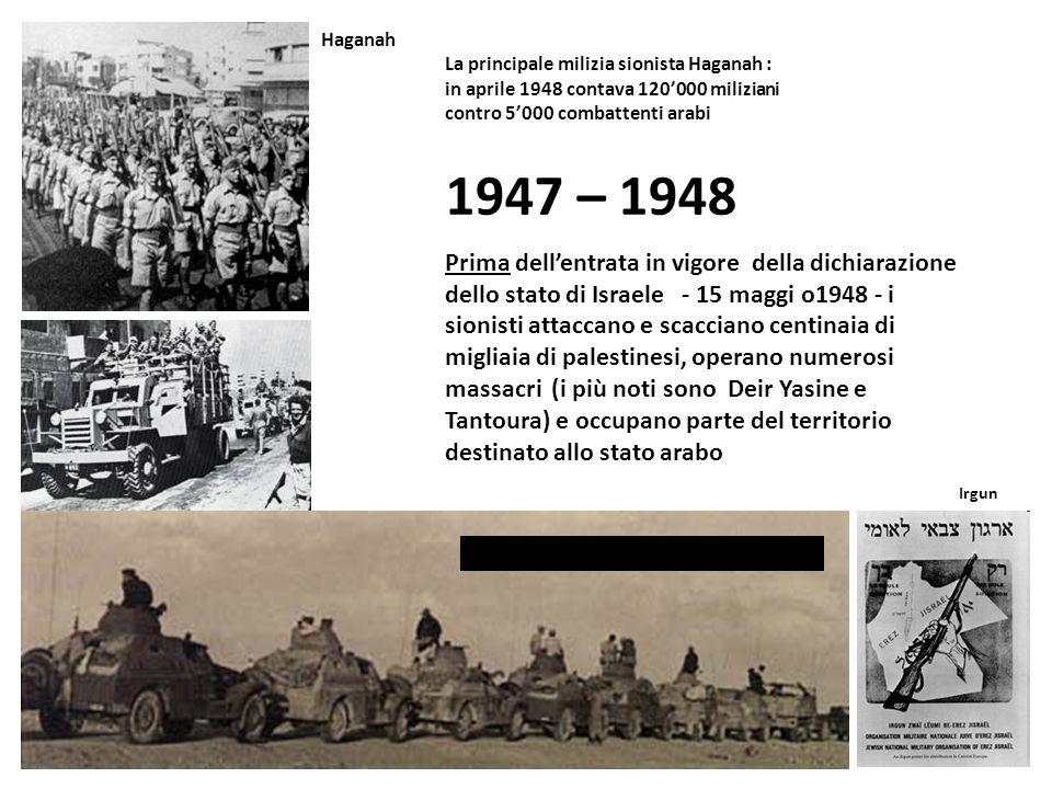 Haganah La principale milizia sionista Haganah : in aprile 1948 contava 120'000 miliziani contro 5'000 combattenti arabi.