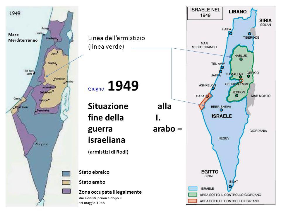 Situazione alla fine della I. guerra arabo –israeliana