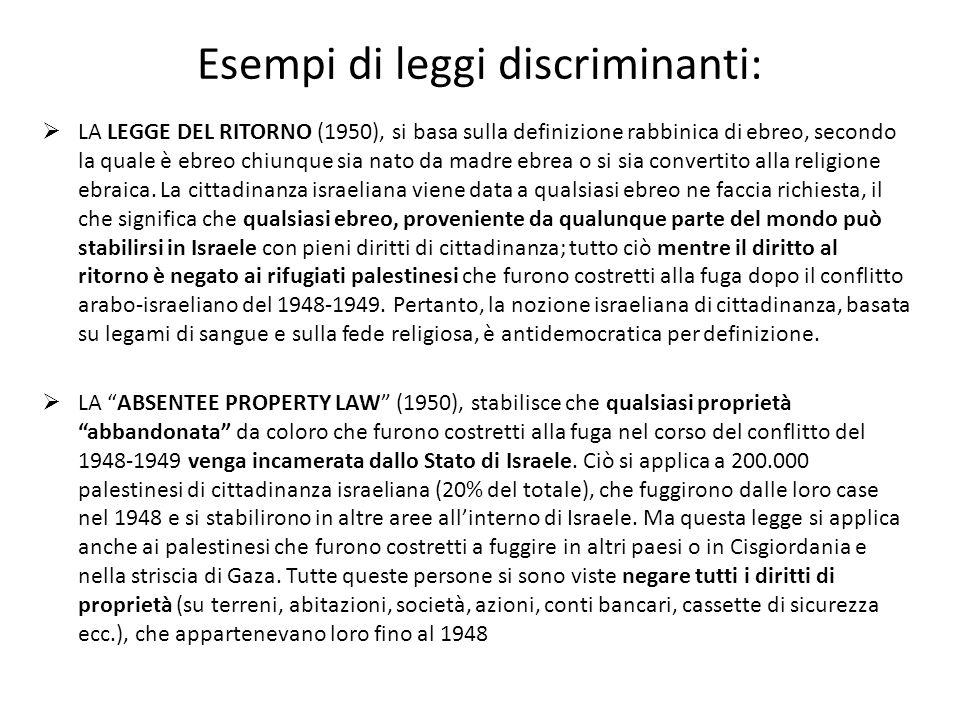 Esempi di leggi discriminanti: