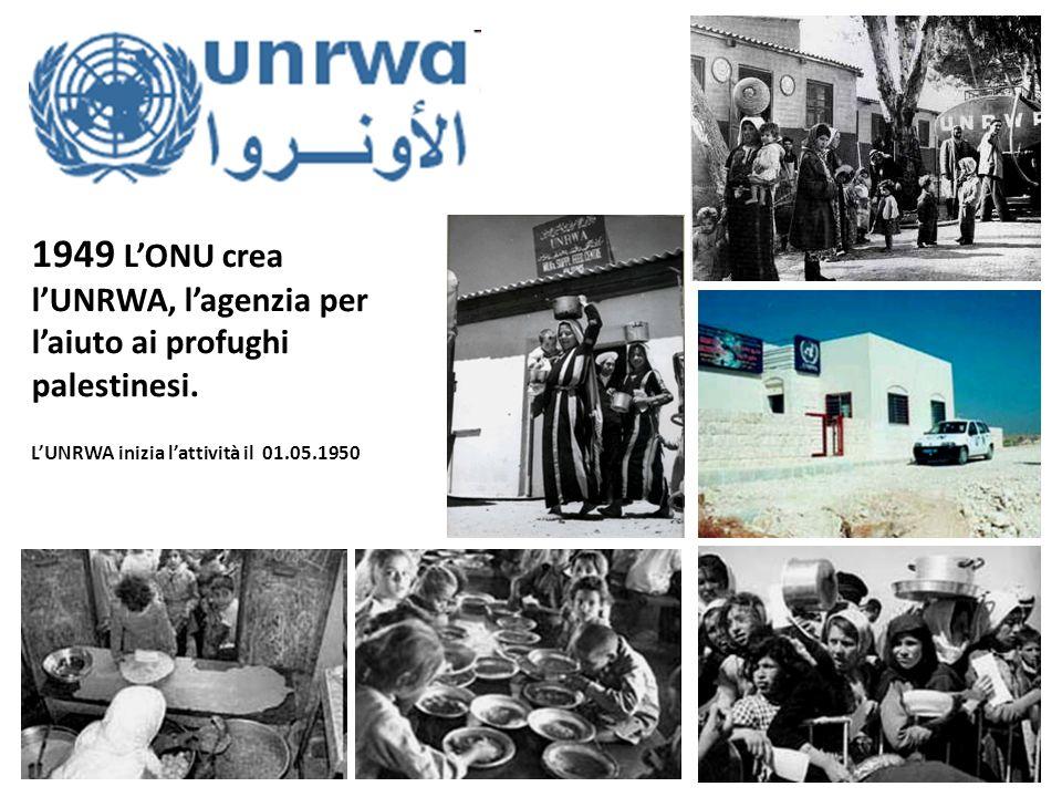 1949 L'ONU crea l'UNRWA, l'agenzia per l'aiuto ai profughi palestinesi.