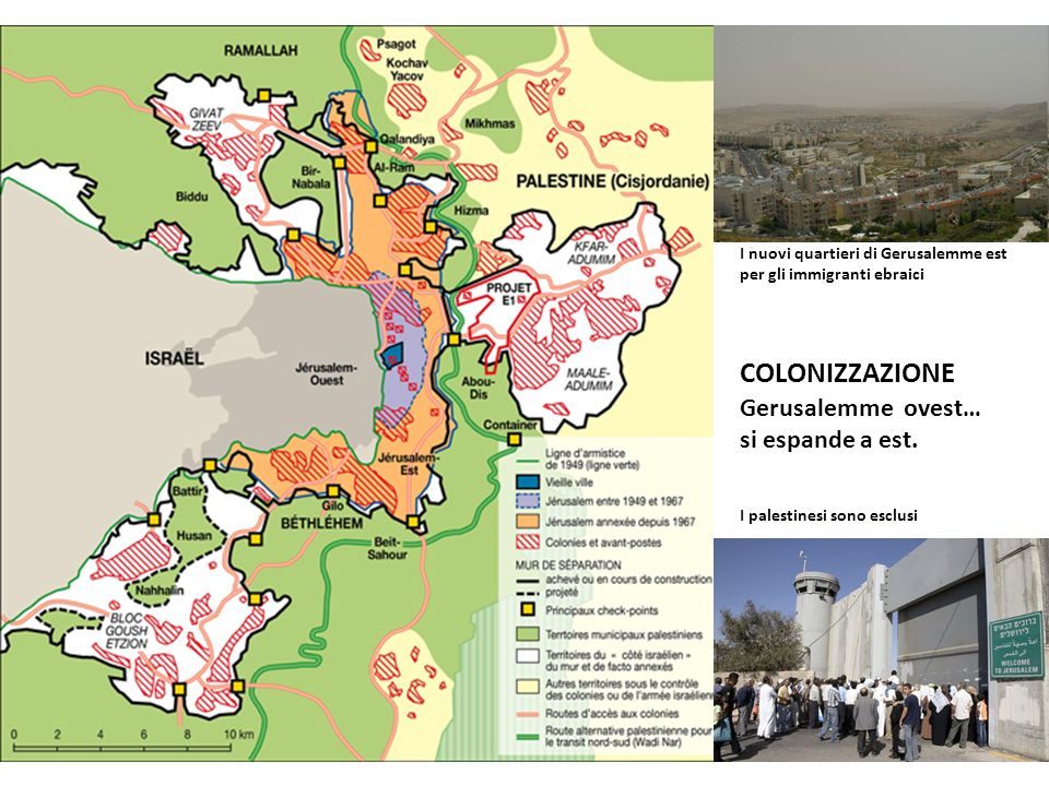 COLONIZZAZIONE Gerusalemme ovest… si espande a est.