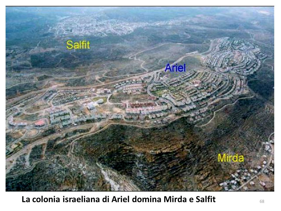 La colonia israeliana di Ariel domina Mirda e Salfit