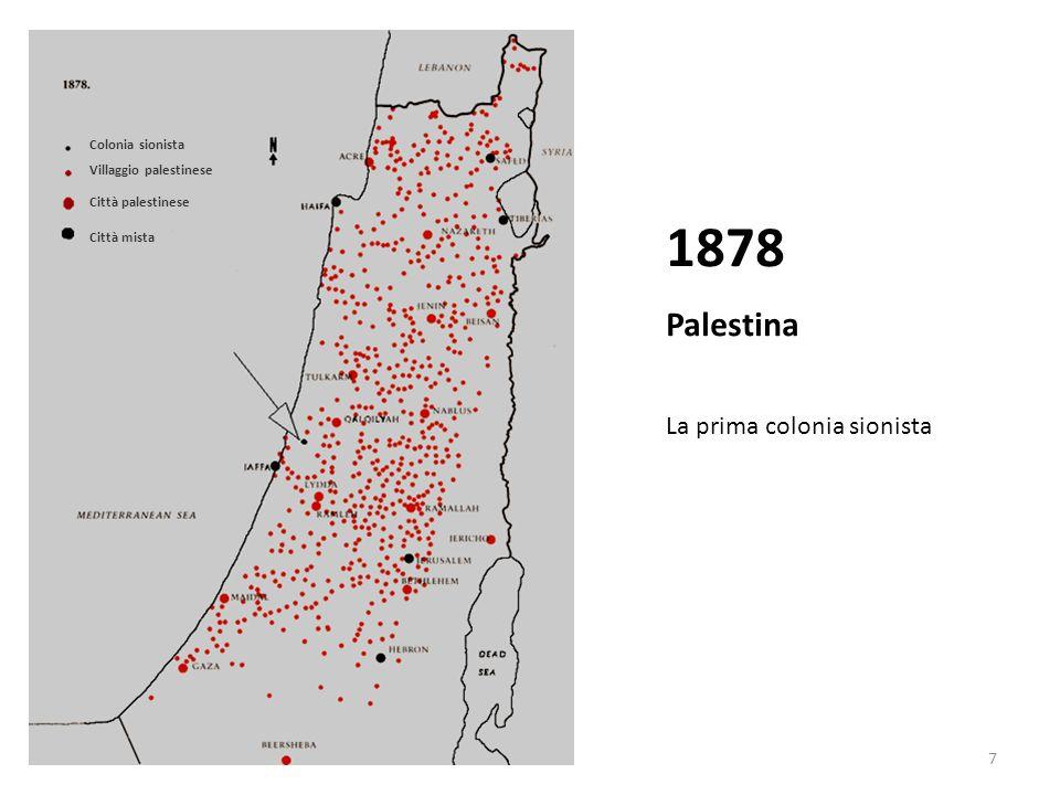 1878 Palestina La prima colonia sionista Colonia sionista