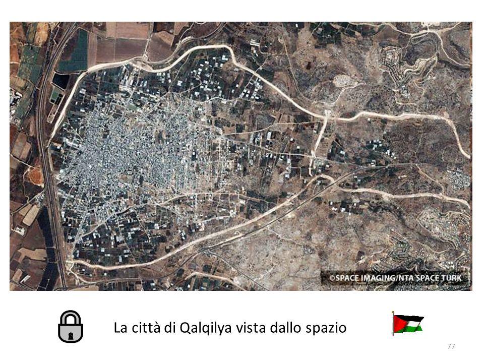 La città di Qalqilya vista dallo spazio