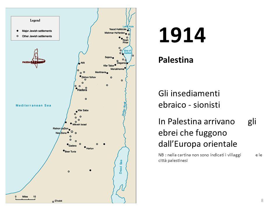 1914 Palestina Gli insediamenti ebraico - sionisti
