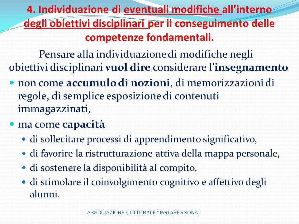 4. Individuazione di eventuali modifiche all'interno degli obiettivi disciplinari per il conseguimento delle competenze fondamentali.