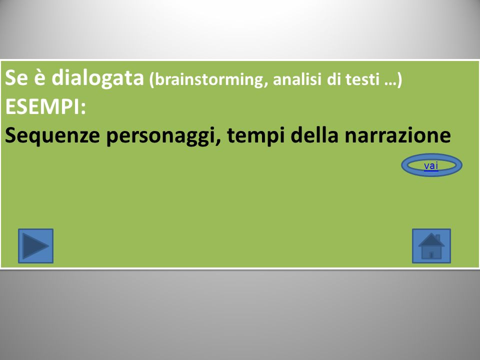 Se è dialogata (brainstorming, analisi di testi …) ESEMPI: