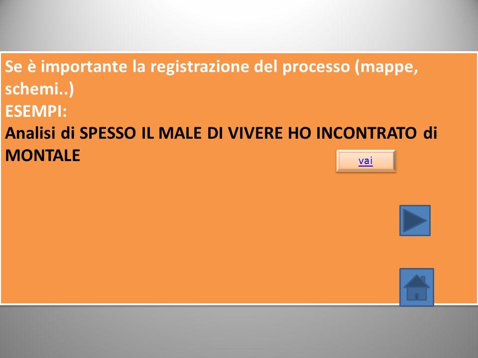 Se è importante la registrazione del processo (mappe, schemi..)