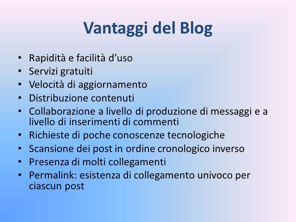 Vantaggi del Blog Rapidità e facilità d'uso Servizi gratuiti