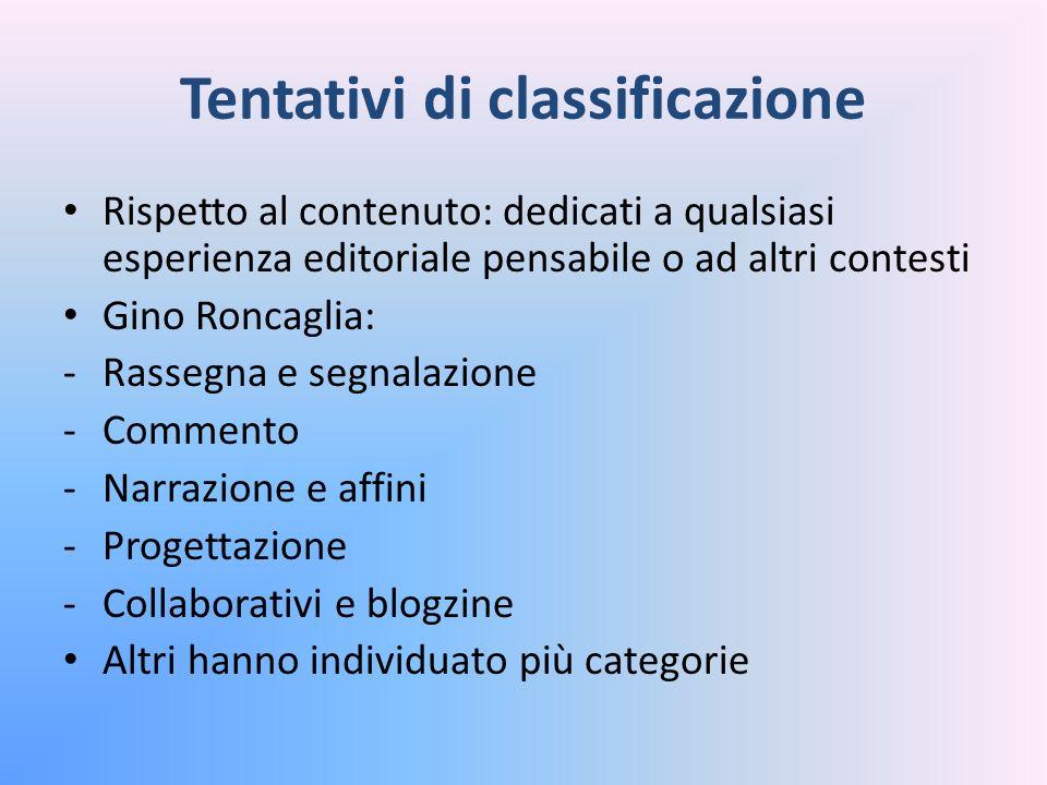 Tentativi di classificazione