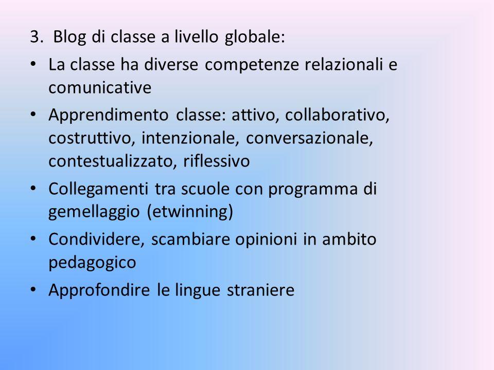 3. Blog di classe a livello globale: