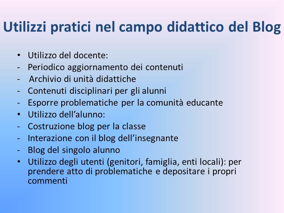 Utilizzi pratici nel campo didattico del Blog