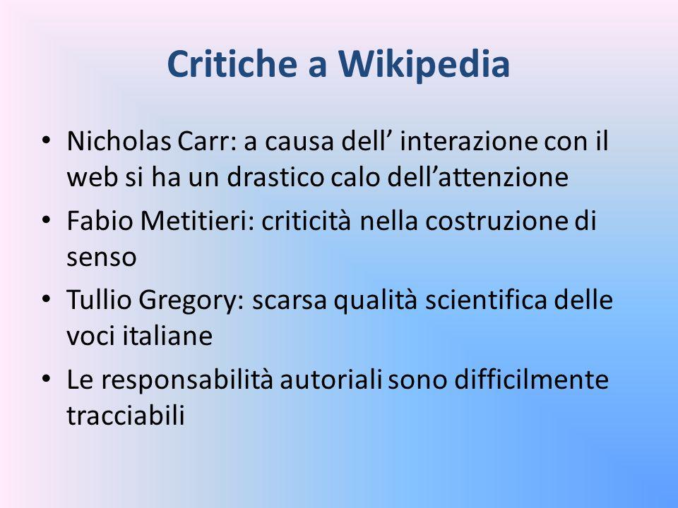 Critiche a Wikipedia Nicholas Carr: a causa dell' interazione con il web si ha un drastico calo dell'attenzione.