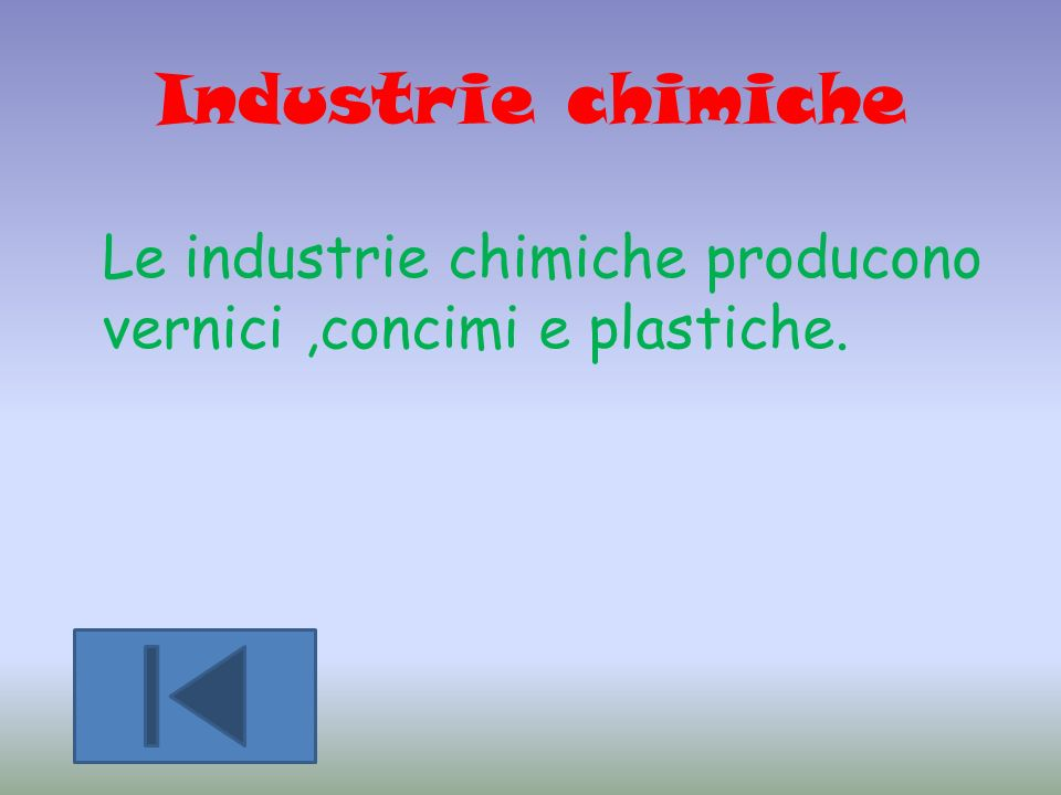 Industrie chimiche Le industrie chimiche producono vernici ,concimi e plastiche.