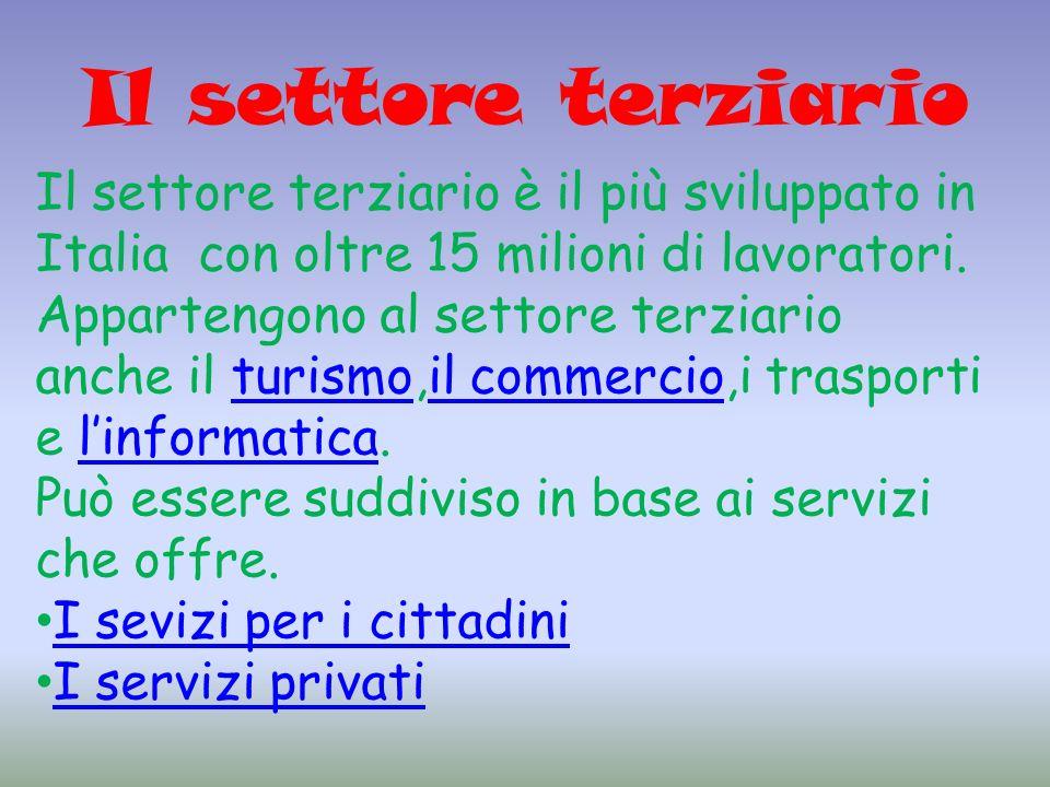 Il settore terziario Il settore terziario è il più sviluppato in Italia con oltre 15 milioni di lavoratori.