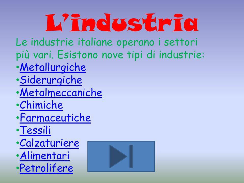 L'industria Le industrie italiane operano i settori più vari. Esistono nove tipi di industrie: Metallurgiche.
