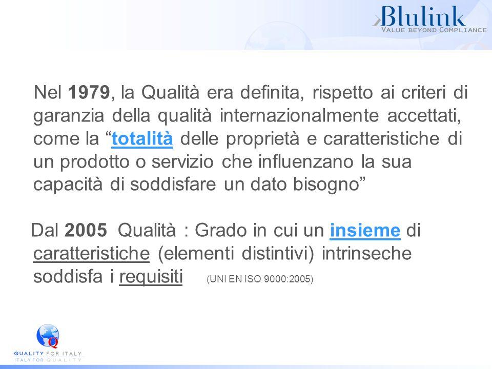 Nel 1979, la Qualità era definita, rispetto ai criteri di garanzia della qualità internazionalmente accettati, come la totalità delle proprietà e caratteristiche di un prodotto o servizio che influenzano la sua capacità di soddisfare un dato bisogno