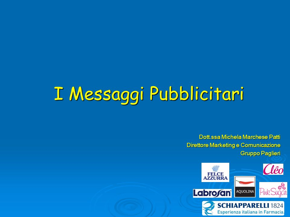 I Messaggi Pubblicitari