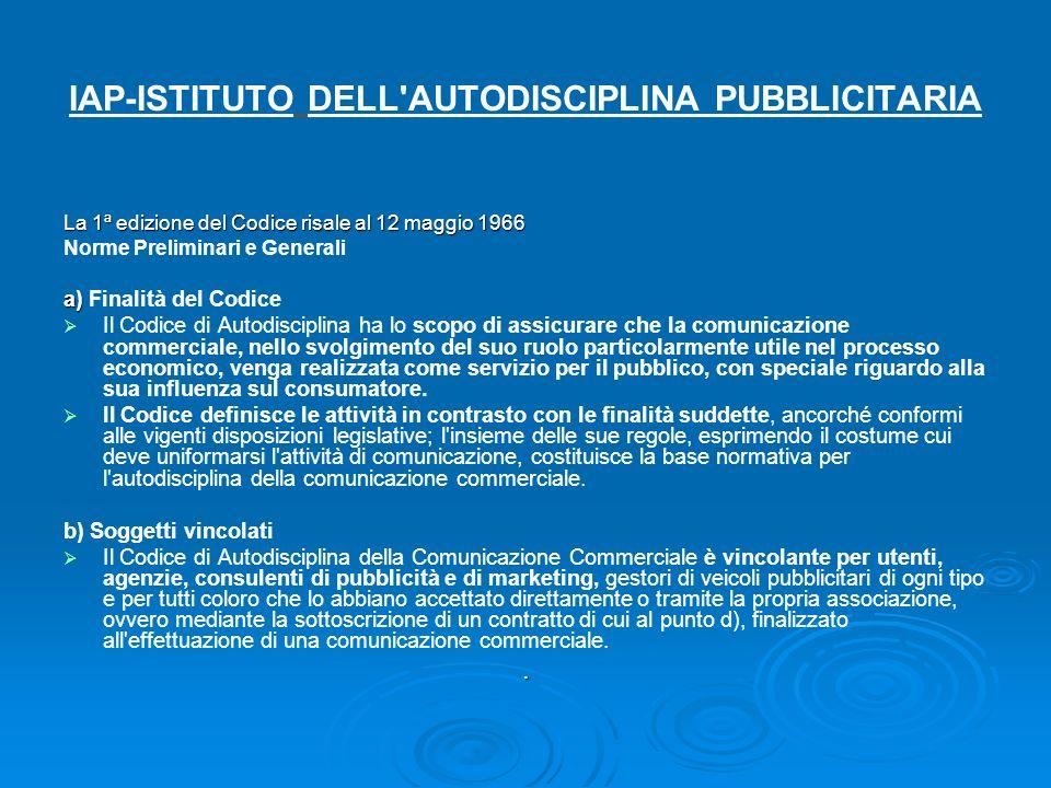 IAP-ISTITUTO DELL AUTODISCIPLINA PUBBLICITARIA