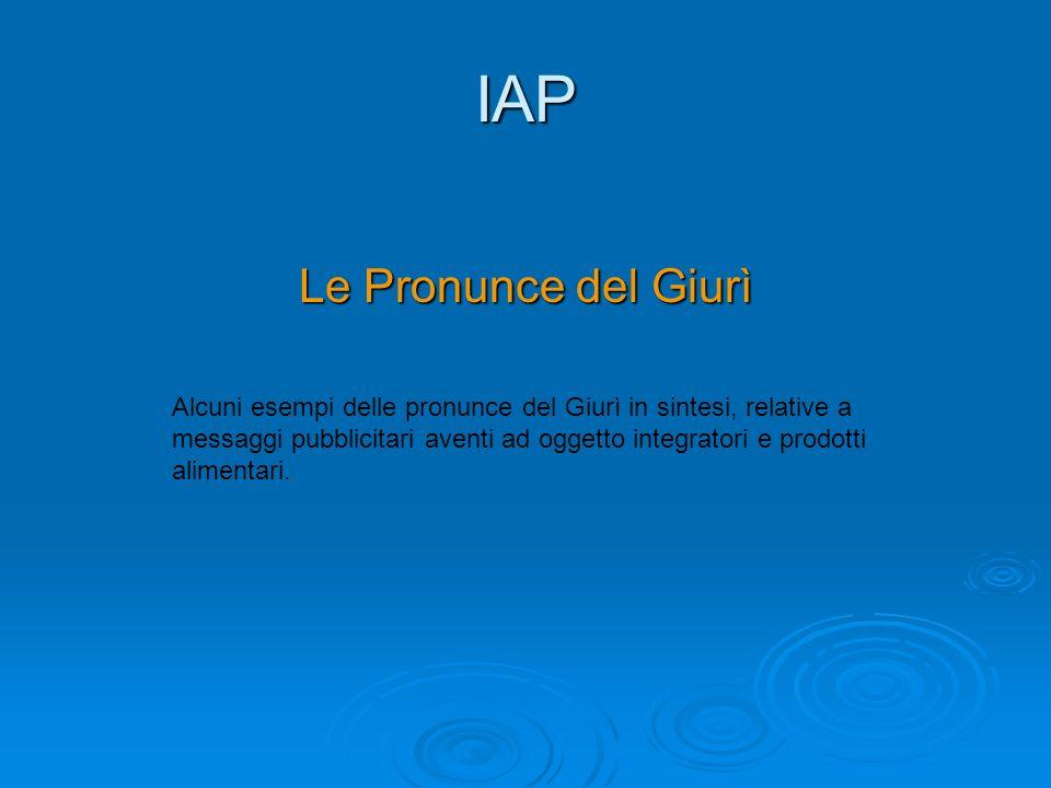 IAP Le Pronunce del Giurì